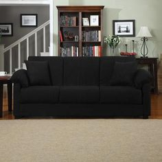 Montero Microfiber Convert-A-Couch Sofa Bed, Multiple Colors  - 84.25 inches long - converts to full size bed