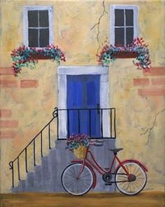 """Social Artworking Canvas Painting Design - The Blue Door  This idyllic scene speaks to the very essence of summertime... bicycles, blooming flowers, and brightly-colored details in the surroundings. A cheerful and charming canvas painting, The Blue Door will liven up any space!  CANVAS SIZE:  16"""" x 20""""  TIME TO PAINT:  approximately 3 hours"""