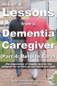 For this caregiver husband of a wife diagnosed with dementia, one of the most helpful things they found in their journey was a woman would come in two or three times a week for a couple of hours each time to be with the wife to give the caregiver husband respite care.