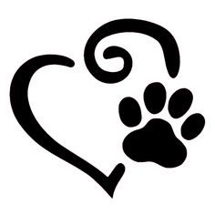 pet paw print art - Swirl Heart and Paw Print Decal Set of 2 Paw Print Art, Cat Paw Print, Paw Prints, Licht Box, Pet Paws, Silhouette Cameo Projects, Dog Quotes, Painted Rocks, Tatoos