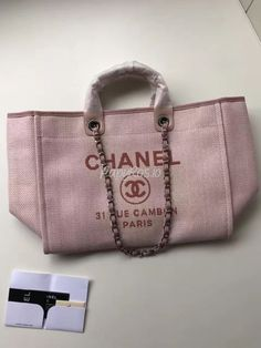 a220efe14ff7 Replica Chanel A66942 Large Toile Deauville Shopping Bag in Poudre Pink