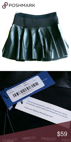 """Rebbeca Minkoff Black Pipa Skort Perfect for a great date night. Pleather, animal friendly material ???? Super sassy skort. Length of large approx 16"""" length of medium approx 15 1/2"""". NWT Non smoking home. Rebecca Minkoff Skirts Mini"""