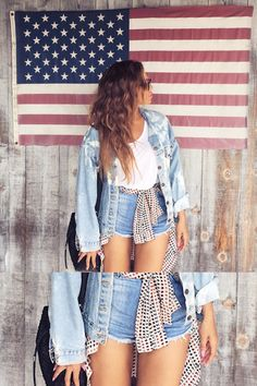 Because of course, Bey has the most festive, and equally cool, 4th of July weekend outfit. Keeping it casual, she wears an acid wash denim jacket, white tank top, denim cut-offs, and a star-spangled shirt tied around the waist. - MarieClaire.com