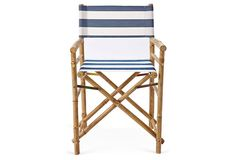 Lot 2 Bamboo Folding Director's Chairs by ZEW Striped Blue & White Canvas, NEW #ZEW
