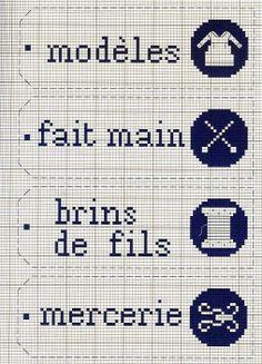 modèles (models/patterns) - fait main (handmade) - brins de fils (strands of thread) - mercerie (notions)