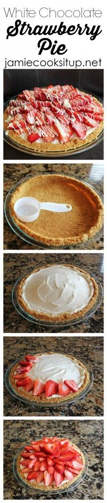White Chocolate Strawberry Pie I Jamie Cooks It Up! This is my favorite pie of all time. Sweet strawberries and a white chocolate cream cheese filling over a fabulous graham cracker crust. Heaven! (Favorite Desserts Graham Crackers)