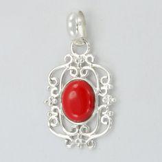 Coral Gemstone 925 Sterling Silver Pendant by DevmuktiJewels