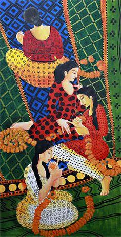 GARLAND MAKERS 1 .(Acrylic painting on canvas)by Kajori Ghoshal.