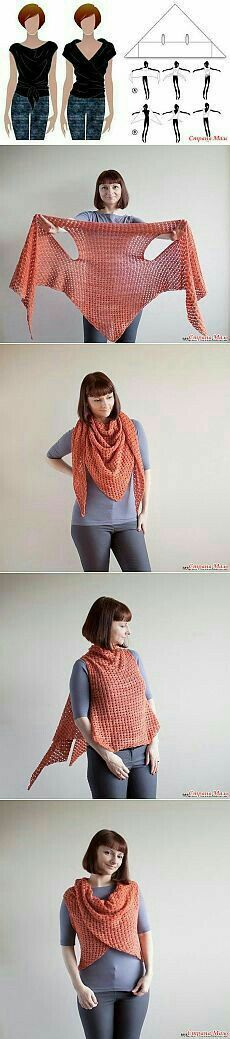 Crochet Patterns Arm multi way scarf shawl with arm holes knit or crochet probably Crochet Shawls And Wraps, Knitted Shawls, Crochet Scarves, Crochet Clothes, Diy Clothes, Scarf Knit, Sweater Scarf, Crochet Fashion, Diy Fashion