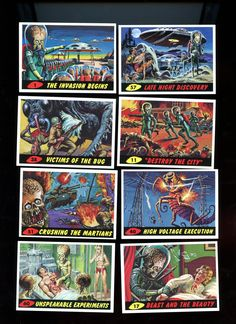 MARS ATTACKS Topps 1994 Vintage Card Lot of 8 cards,includes number 1,Excellent Condition Free Shipping by Tanraytoycollectable on Etsy