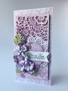 Kartka z pudełkiem wykonany z kolekcji z papieru: Fioletowe Fiołki - 05 , Lilie Polne - 03 , Świeżo Malowane - 03 , Świeżo Malowane III   ...