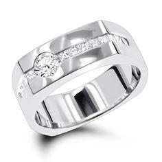 14K Gold Mens Diamond Anniversary Wedding Ring 1.18ct