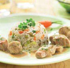Kalfsragoût met rijst en lentegroentjes