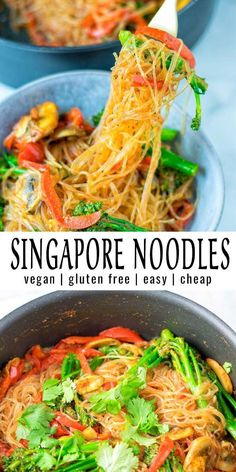 Singapore Noodles – Contentedness Cooking Simple and delicious these Singapore Noodles are a keeper that the whole family will love. Try them now and you won't even notice these are naturally vegan. Whole Food Recipes, Cooking Recipes, Healthy Recipes, Cheap Recipes, Dinner Recipes, Family Recipes, Quick Recipes, Fondue Recipes, Dinner Ideas