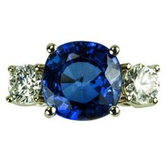 Sapphire Diamond Gold Three Stone Ring   From a unique collection of vintage three-stone rings at https://www.1stdibs.com/jewelry/rings/three-stone-rings/