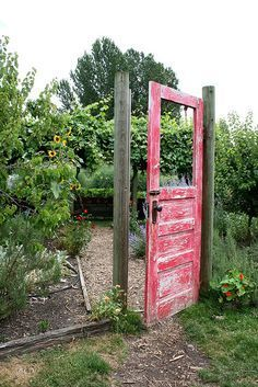 (image) GARDEN GATE ~ Recycle / Re-purpose an old door into a garden gate