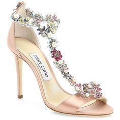 Jimmy Choo Women's Reign 100 Crystal-Embellished Satin T-Strap Sandals (16,570 ILS) ❤ liked on Polyvore featuring shoes, sandals, jimmy choo shoes, crystal embellished sandals, open toe shoes, open toe sandals and jimmy choo sandals