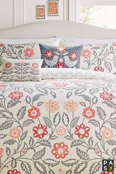 Montague Floral Print Duvet Cover - Feminine, fresh and floral, this bedding set features a simple floral print with hints of red and green. A beautiful design, with a reversible print that is ideal for any modern home.