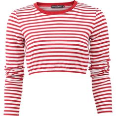 Dolce & Gabbana  Striped Crop Top (£325) ❤ liked on Polyvore featuring tops, shirts, long sleeve crop top, white top, striped long sleeve shirt, long sleeve cotton shirts and red striped shirt