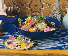 Shaved Beet and Bitter Greens Salad with Garlic Balsamic Vinaigrette