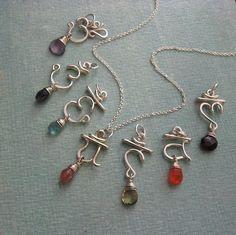 Set of 7 Chakra Pendants with semiprecious Chakra Jewelry, Yoga Jewelry, Wire Pendant, Pendant Jewelry, Stone Jewelry, Metal Jewelry, Diy Schmuck, Homemade Jewelry, Beads And Wire