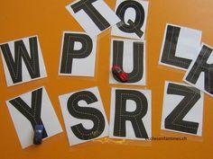 Lettres alphabet motricité graphomotricité écriture voiture route maternelle école enfantine
