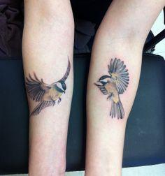 chickadee tattoo - for grams Time Tattoos, Body Art Tattoos, Sleeve Tattoos, Tatoos, Leg Tattoos, Mommy Tattoos, Couple Tattoos, Unique Tattoos, Beautiful Tattoos