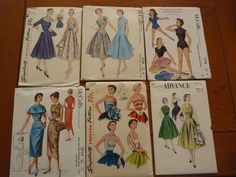 Lot of 6 50s Patterns Uncut? 32.05+3.94 5bds 5/10/14
