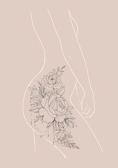 Side Hip Tattoos, Hip Thigh Tattoos, Floral Thigh Tattoos, Hip Tattoos Women, Side Thigh Tattoos Women, Rose Tattoo Thigh, Feminine Tattoos, Dream Tattoos, Rose Tattoos