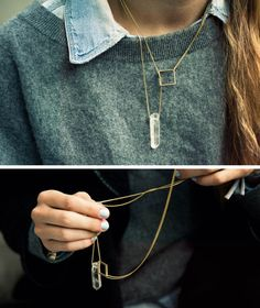 A different take on the lariat necklace...I might give that design a try, for I do love asymmetrical necklaces. I also like that sweater she is wearing.