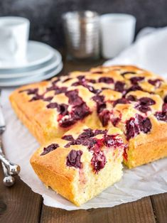 Homemade Cherry Cake with sour cherries and vanilla is a simple snack cake that tastes delicious and is so easy to make in less than 10 minutes. Perfect for surprise guests and dessert cravings! A tender and moist coffee cake made completely from scratch.