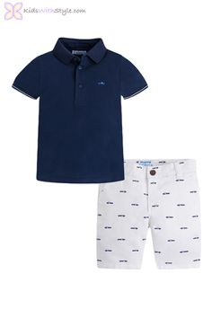 Set with polo shirt made in cotton and shorts with adjustable waist and zip fastening. Sizes 2 to 5 will have no zipper, making it easier to put on. Young Boys Fashion, Boy Fashion, Fashion Outfits, Spring Fashion, Basic Wardrobe Essentials, Wardrobe Basics, Summer Wardrobe, Boys Summer Outfits, Boy Outfits