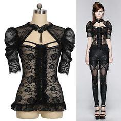 Women Black Lace Short Sleeve Gothic Burlesque Fashion Dress Tops SKU-11409416