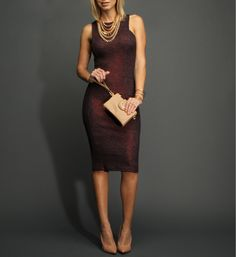 ee7690bef6 Eggplant Textured and Shimmer Midi Dress at WindsorStore