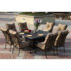 Darlee Santa Anita Cast Aluminum 9 Piece Square Patio Propane Fire Pit Dining Set