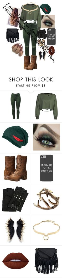"""""""Peter Pan: lost boy outfit"""" by crmsonred13 ❤ liked on Polyvore featuring WithChic, Timberland, Disney, Karl Lagerfeld, Mignonne Gavigan, Alexis Bittar and Lime Crime"""