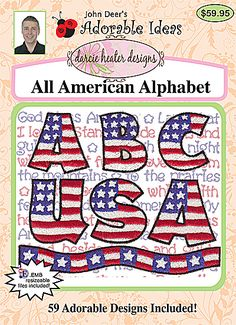 All American Alphabet USA Machine Embroidery Design Pack - Only $10