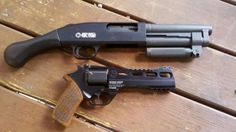 "Revolver Rhino 60DS 6"" black finish, 40S&W, AND Serbu Super Shorty.....me likey."