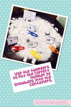 Using tweezers to count the correct number of a snowballs into the containers.