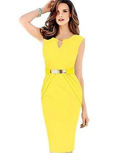 Robe Aux femmes Grandes Tailles Vintage / Travail , Couleur Pleine Col en V Mi-long Coton / Polyester / Autres