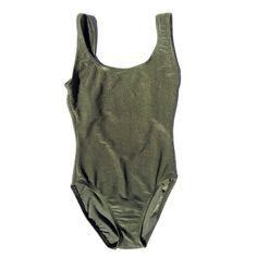 Olive Green Ribbed 1 pc Bathing Suit