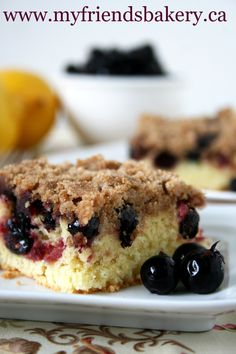 Lemon Saskatoon Berry Crumble Coffee Cake by www.myfriendsbakery.ca