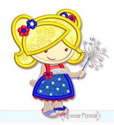 Sparkler Cutie Girl Applique 4x4 5x7 6x10 SVG
