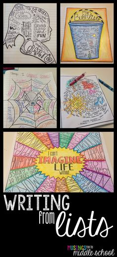 from Lists: Bundle (Volume Even the most reluctant writers will get a kick out of this!Even the most reluctant writers will get a kick out of this! 5th Grade Writing, Middle School Writing, Writing Classes, Writing Lessons, Teaching Writing, Art Lessons, Writing Process, Writing Ideas, Fun Writing Activities