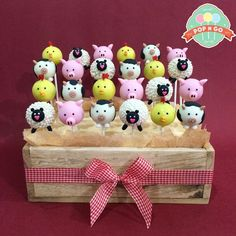 Farm animals cake pops For order please wa or call Barnyard Cake, Barnyard Party, Farm Cake, Farm Party, Zoo Cake, Farm Birthday Cakes, Birthday Cake Pops, 2nd Birthday, Birthday Parties