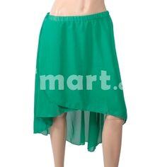 Chiffon Sexy Elegant Asymmetric Dress with Elastic Waistband Dark Green,$11.99
