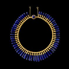 Antique Jewelry Egyptian style necklace and earrings: lapis lazuli, gold Luigi Freschi, Rome, Italy, about - Cate Blanchett's Oscars brooch and a record-breaking necklace designed for Nicole Kidman twinkle alongside Egyptian amulets and design in Sydney Egyptian Jewelry, Ancient Jewelry, Antique Jewelry, Vintage Jewelry, Vintage Brooches, Viking Jewelry, Egyptian Art, Boho Jewelry, Jewelry Art