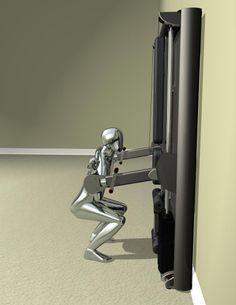 Squat up to 420 lb on a gym that is 4 feet wide by 1 foot deep.  SlimGym - the ultimate home gym.