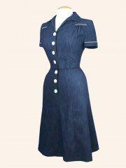 1940's style Tea Dress Denim Dark Blue