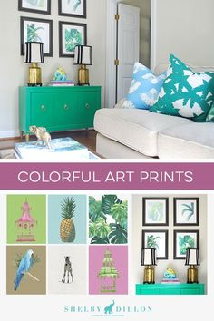 SHOP Colorful Art Prints by Shelby Dillon Studios. Choose from home decor in bright patterns of yellow, pink, green, orange and coral. Fill your home with colorful modern decor including pillows, trays, bar accessories, and more. Shop the collection...
